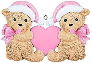 Personalized Twins Bears Baby's First Christmas Tree Ornament 2019 - Same Born Teddy Pacifier Glitter Hat Ribbon Hold Heart 1st Girl Miracle New Mom Grandkid - Free Customization (Pink)