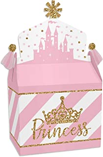 Big Dot of Happiness Little Princess Crown - Treat Box Party Favors - Pink and Gold Princess Baby Shower or Birthday Party Goodie Gable Boxes - Set of 12