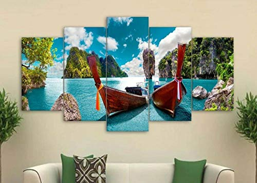 183Tdfc Thailand Island Beach Boat 5 Piezas Cuadros Lienzo Decoracion Salon Modernos De Pared Lienzos Colgando Papel Pintado Murales Pintura Fotos Regalo(con Marco)