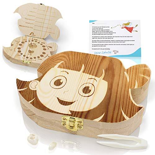 Amazy Scatolina per denti da latte con pinzetta e lettera per la fatina dei denti - Scatola in legno per i dentini del bambino (Grande   Bimba)