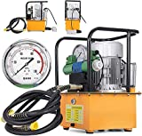 110V Electric Driven Hydraulic Pump - 750W Double Acting Hydraulic Pump + Solenoid Valve Pedal Switch for Punching/Bending/Jack Machine 7L Capacity 30KG