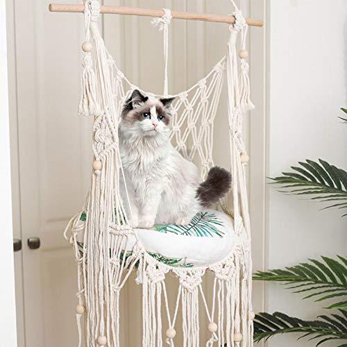Hamaca para Gatos, Cama Colgante para Gatos, Suministros para Mascotas Tejidos A Mano, Cesta Colgante Suave para Gatos, Cama Colgante De Mezcla De Algodón, Macramé