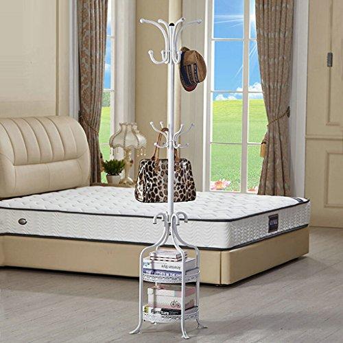 SKC Lighting-Porte-manteau Ronde 2 niveaux Bar Coat Rack Métal Sol Cintre Cintre Simple Chambre Salon Cintre Minimaliste Moderne Cintre Noir Blanc (49 * 49 * 180CM) (Couleur : Blanc)