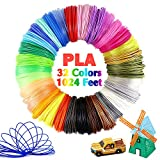 Pomatoy 32 Colors 3D Pen PLA Consumables, 1.75mm Filament Used for 3D Pens, Each Color 32 Feet, Total 1024 Feet