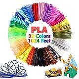 Pomatoy 32 Colors 3D Pen PLA Consumables, 1.75mm Filament Used for 3D Pens, Each Color 32 Feet, Total 1024 Feet