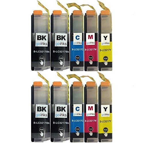 2 Go Inks Conjunto de 4 + Extra Negro Cartuchos de Tinta para reemplazar Brother LC3217 Compatible/Non-OEM para Brother MFC Impresoras (10 Tintas)