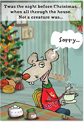 12 'No More Stirring Mouse Boxed Christmas' Greeting Cards with Envelopes (4.75 x 6.625 Inch), Merry Xmas Note Cards Featuring Funny Mouse Stirring a Drink, Stationery Set for Kids and Adults B1805