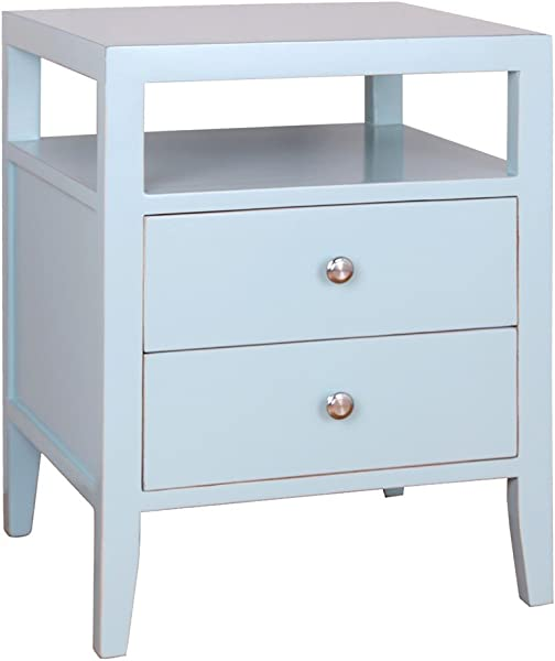 Porthos Home Hana 2 Drawer Lacquer End Table Aqua