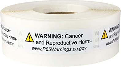 California Proposition 65 Cancer and Reproductive Harm Warning Labels Short Form .5 x 1.5 Inch 500 Adhesive Stickers