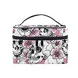Skull Makeup Bag Pink Mexican Sugar Skull Floral Carrying Portable Zip Travel Cosmetic Brush...