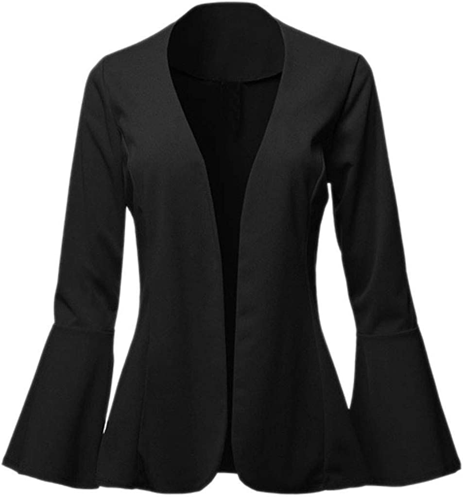 Keepmove Women's Fashion Casual Solid Collarless Bell Sleeve Open Blazer