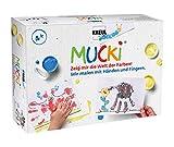 Kreul 29101 - Mucki Fingermalfarbe, Farben Spiel Kiste, Wir malen mit Händen und Fingern, Lern- und Spielset, 5 x 50 ml Fingerfarbe, 2 kleine Dosen, Wackelaugen, Holzstäbchen sowie 10 Malvorlagen