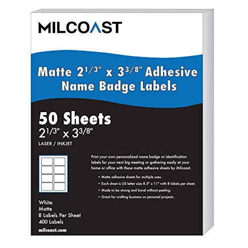 """Milcoast Matte White Adhesive Name Badge Label Stickers 2-1/3"""" x 3-3/8"""" - for Laser/Inkjet Printers - 400 Labels (50 Sheets)"""