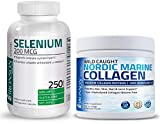 Bronson Marine Collagen Peptides Hydrolyzed Protein Powder 100% Wild Caught Nordic Cod + Selenium 200 Mcg for Immune System, Thyroid, Prostate and Heart Health