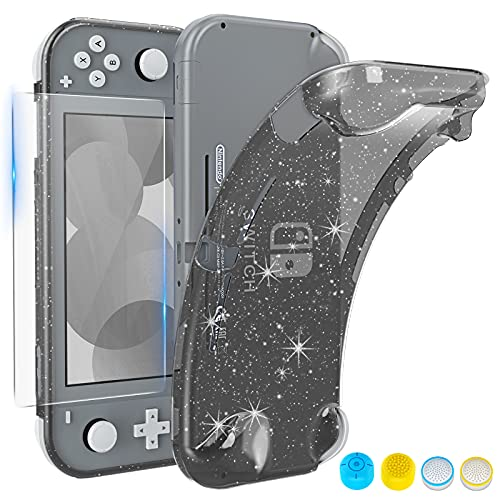 HEYSTOP Case Compatible with Nintendo Switch Lite, with Tempered Glass Screen Protector and 4 Thumb Grip, TPU Protective Cover for Switch Lite with Anti-Scratch/Anti-Dust (Black)