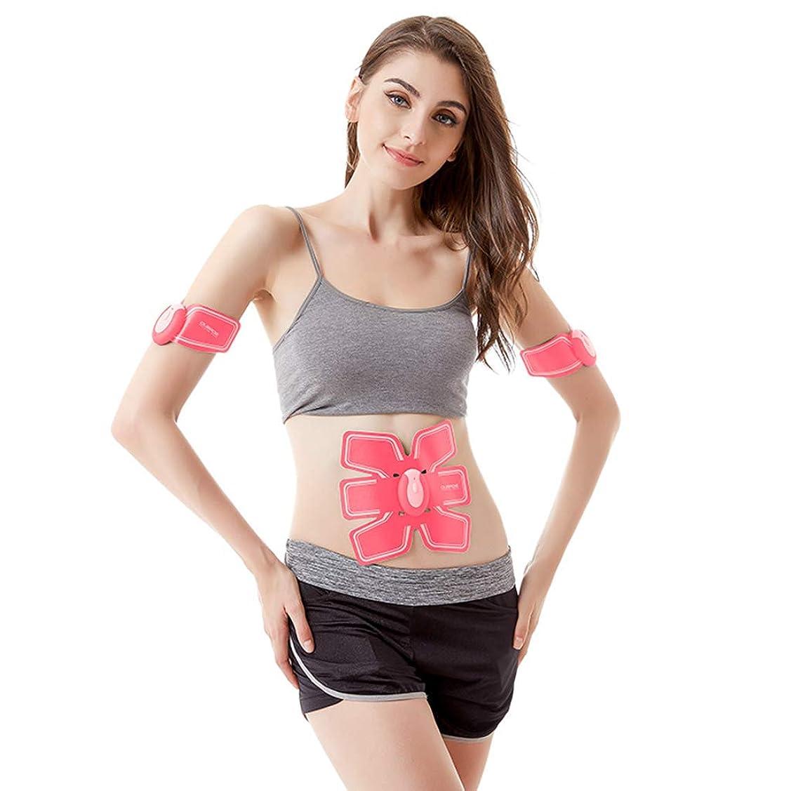 腹部の調子を整えるベルト、腹部の筋肉フィットネスベルトのホームオフィスの腹部筋肉トレーナーの女性スマートフィットネス器械筋肉腹部トレーナーボディービルの腹ベルト (Color : PINK, Size : 17.8*15.2CM)