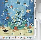 """Spirella Anti-Schimmel Duschvorhang - Anti-Bakteriell, waschbar, wasserdicht, Polyester, """"Diver"""" 180x200cm Kinder Blau"""