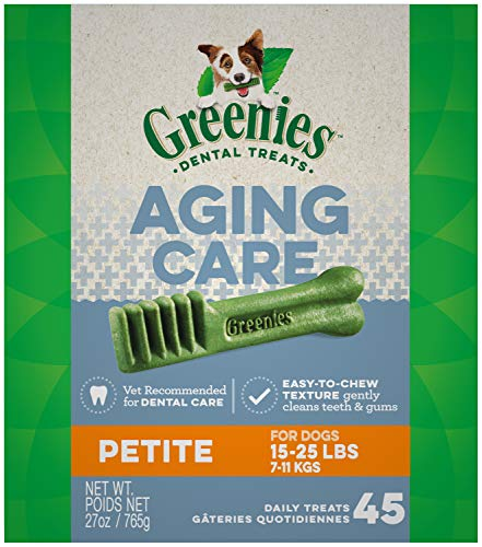 GREENIES Aging Care Petite Natural Dog Dental Care Chews Oral Health Dog Treats, 27 oz. Pack (45 Treats)