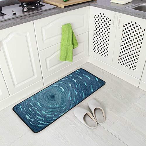 SENNSEE Ocean Sealife Whirlpools Tapis de cuisine antidérapant pour intérieur extérieur et extérieur Tissu polyester confortable 99,1 x 50,8 cm