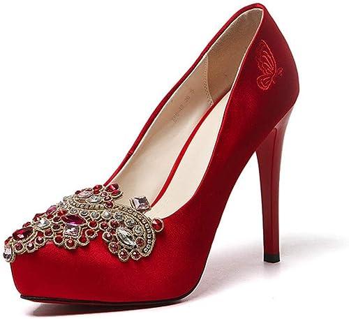 Escarpins Satin 11Cm De La Mode des Femmes Européennes Européennes Européennes Et Américaines Sexy Strass Mariée Chaussures à Talons Hauts De Mariage b6c