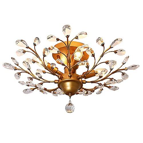 Ganeed Vintage K9 Klar Kristall Kronleuchter, Decke Beleuchtung, anhänger Beleuchtung Flush Montiert Leuchte mit 4 Licht für Wohnzimmer Esszimmer Restaurant Veranda Flur (Gold)