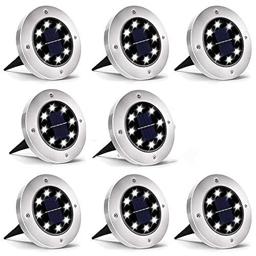 Luces solares de suelo, luces de disco, 8 luces LED solares en el suelo para exteriores, para paisajes, aceras, césped, escalones, vallas, caminos, escaleras y vallas (8 blanco frío)