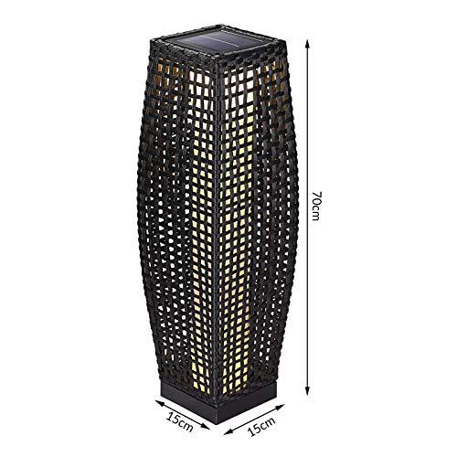DEUBA Poly Rattan LED Solarleuchte Solarlampe schwarz | 70cm Hoch | Stehend | Für Garten, Balkon & Terrasse - Außenleuchte Gartenleuchte Gartenbeleuchtung Solar Gartenlampe Außen - 3