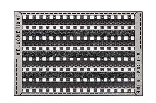 CarFashion 279659 PUR|GridClean, Fussmatte, Türmatte, Fußabtreter, Schmutzfangmatte, Sauberlaufmatte, Eingangsmatte für Innen und Aussen, Anthrazit-Metallic Oberfläche, Größe ca. 59 x 39 cm