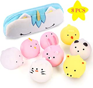 Gooidea Jumbo Mochi Squishy 8 Pcs Kawaii Animal Squishies Squishys Toys Easter Egg Fillers Easter Basket Stuffers with Unicorn Storage Bag Party Favors Toy Gift for Teen Girls & Boys