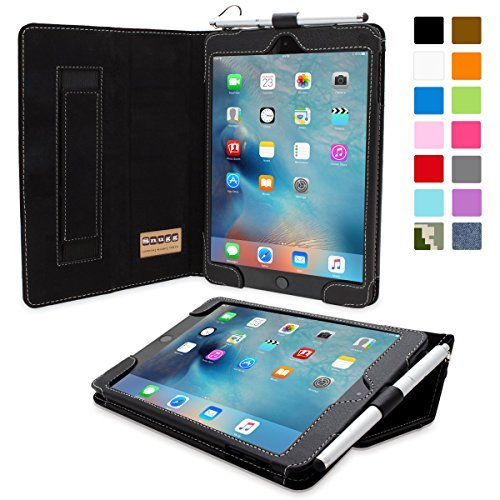 Snugg iPad Mini 5 (2019) & iPad Mini 4 (2015) Leather Case, Flip Stand Cover - Black