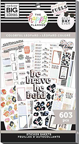 The Happy Planner Sticker Value Pack - Planner Accessories - Colorful Leopard Theme - Multi-Color - Great for Planning, Project & Scrapbooking - 30 Sheets, 603 Stickers