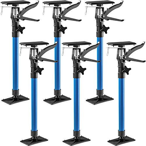 TecTake Türspanner Teleskopstange | stufenlos verstellbar | leichte Handhabung - Diverse Modelle (6er Set blau | Nr. 402614)