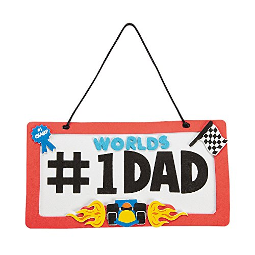 #1 Dad License Plate Sign Craft Kit - Makes 12 - DIY Father's Day Craft Gifts for Kids