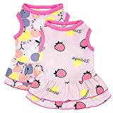 2 Pack Dog Shirt Skirt Pet Clothes, Puppy T-Shirts Sleeveless Princess Dress, Doggy Outfit Vest Pink Clothing for Small Extra Small Medium Dogs Cats Summer Apparel (Pink, X-Small)