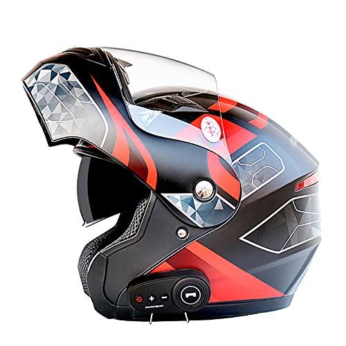 Casco De Motocicleta Modular Bluetooth Full Face Flip Up Auriculares Delanteros Tipo De Flip-Tipo Dual Sun Sun Helmet Casco Integral DOT ECE Aprobado Para Hombres Y Mujeres,A,L