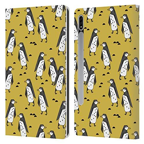 Head Case Designs Licenza Ufficiale Andrea Lauren Design Pinguini Gialli Uccelli Cover in Pelle a Portafoglio Compatibile con Samsung Galaxy Tab S7 5G