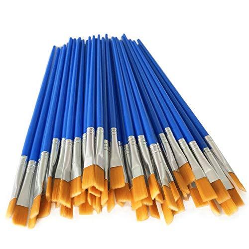 bobotron Lot de 50 pinceaux en nylon pour enfants - Poils plats - Taille L - Aquarelle - Kit de...