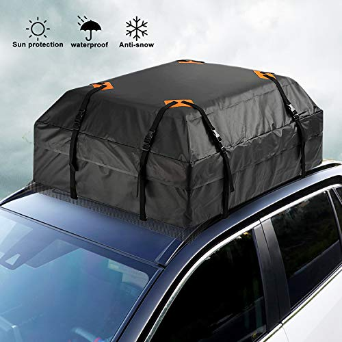N-B Car Roof Bag Cargo Carrier 15 Cubic Feet+Protective Mat for All Vehicle with/Without Roof Rack 100% Waterproof