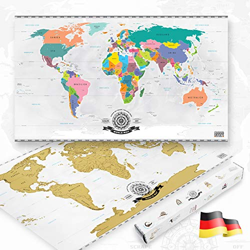 GOODS+GADGETS Scrape Off World Map Gold - XXL Weltkarte zum frei Rubbeln 82 x 45 cm - Rubbel Landkarte Deluxe Wandbild