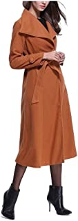 Howely Women Knee Length Winter Fall Open Front Lapel Cardigan with Belt