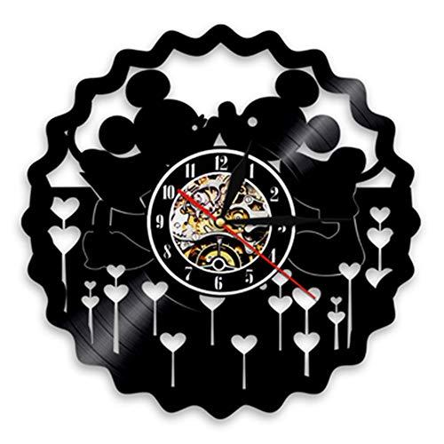 JLJL Mickey Mouse Clock Schallplatte Wanduhr LED Wanduhr 12-In | Wohnkultur Disney Geschenke für Kinder und Freunde | Kreative hängende Nachtlampe 7 Farbe leuchtende Wanduhr ?Ohne Licht? (B)