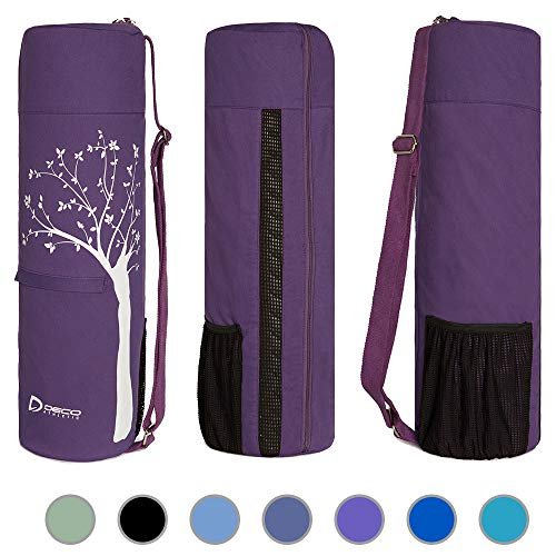 Deco Athletic Yoga Mat Bag Full Zip, Fits Up to 25in Mat, 2 Large Zip Pockets, Large Mesh Pocket- Room for Towel, Wallet, Keys, Water Bottle