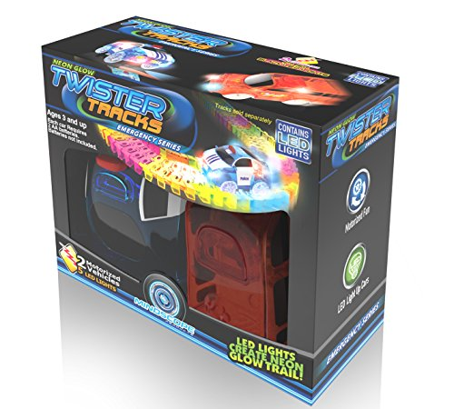 Mindscope Twister Tracks Neon Glow in The Dark Add On Emergency Car Series Set of 2 (Police Car and Fire Truck)