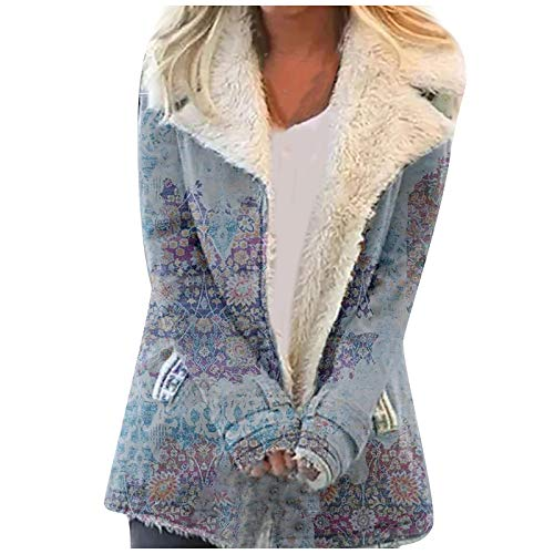 H.eternal(TM) Frauen Umlegekragen Knöpfe Push Warm Langarm Zotteljacke Langmantel Oversize Hoodie Sweatshirt Pullover Gr. XXXXL, blau