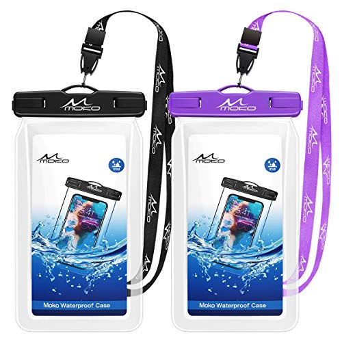 MoKo Floating Waterproof Phone Pouch [2 Pack], Floatable Phone Case Dry Bag with Lanyard Compatible...