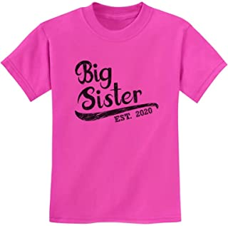 Girls Big Sister Est 2020 Sibling Gifts Youth Kids T-Shirt