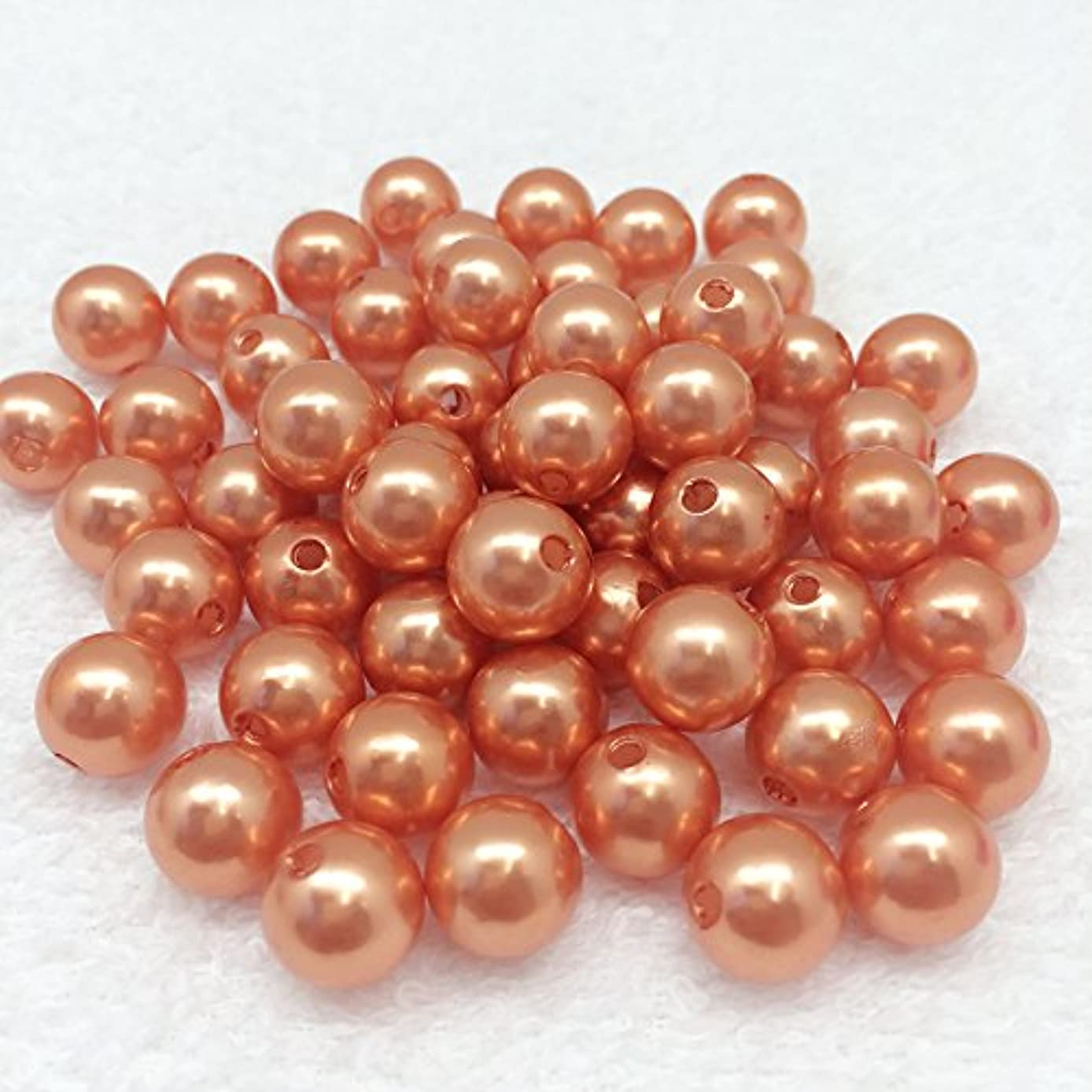 PEPPERLONELY 50 Grams (Apprx 58 PC) Acrylic Faux Pearl Beads 12mm(1/2 Inch), Dark Orange