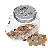 Spardose Mit Zähler,Automatischer Münzzähler Sparbüchse, Sparschwein Kinder alle EU Münzen LCD Display Money Saving Jar with Large Capacity, Piggy Bank für Weihnachten, Neujahr,...