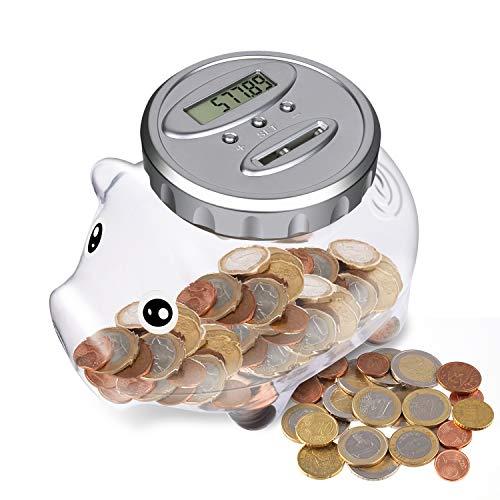 Dericam Spardose Mit Zähler,Automatischer Münzzähler Sparbüchse, Sparschwein Kinder alle EU Münzen LCD Anzeige mit großer Kapazität, Piggy Bank für Geburtstag