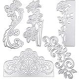 5 Pieces Rose Cutting Die Flower Shape Embossing Dies Wedding Invitation Die Cuts Stencils for Scrapbooking Card Making Supplies